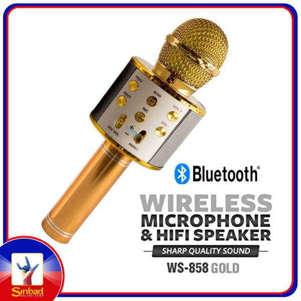WS858 Bluetooth Karaoke Microphone Multi-Function Handheld Wireless Karaoke Machine Party Singing Compatible with iPhone/Android/PC (Gold)