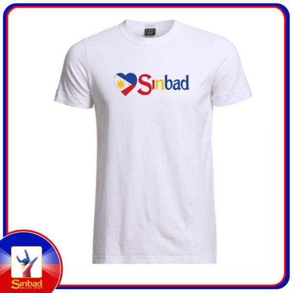 Unisex t-shirt, printed with the Sinbad logo and the Philippine flag - white color