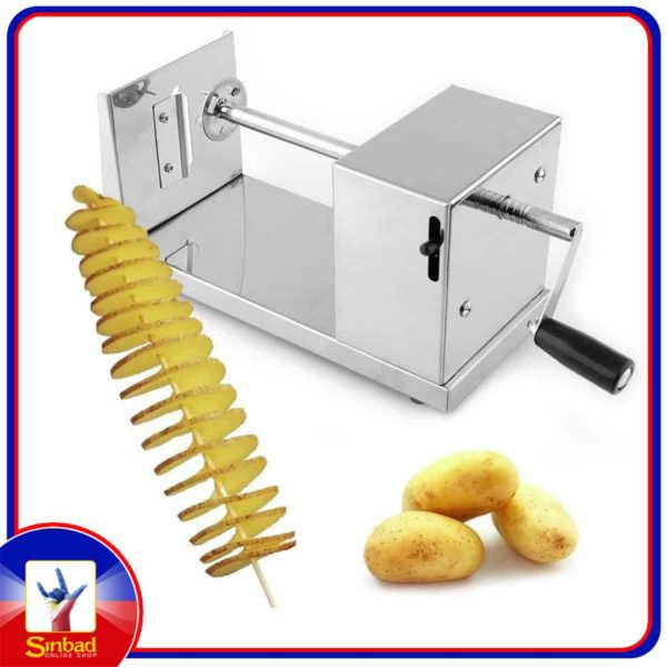 h001 RioRand Manual Stainless Steel Twisted Potato Slicer Spiral Vegetable Cutter French Fry