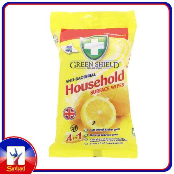 Green Shield Anti Bacterial Household Surface Wipes 70Pcs