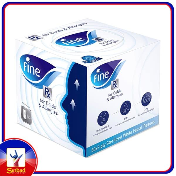 Fine Facial Tissue for Cold & Allergy 3ply 50 Sheets