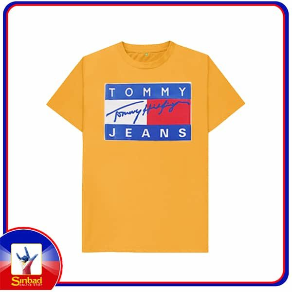 Unisex t-shirt, printed with the tommy jeans logo-yello color
