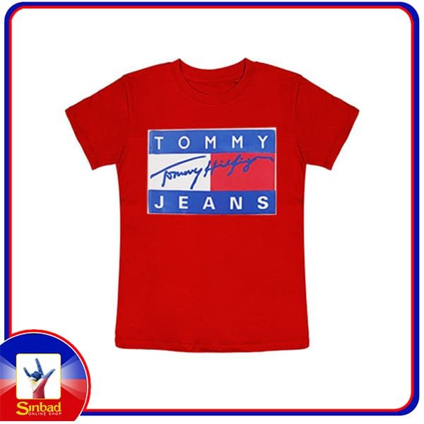 Unisex t-shirt, printed with the tommy jeans logo-red color