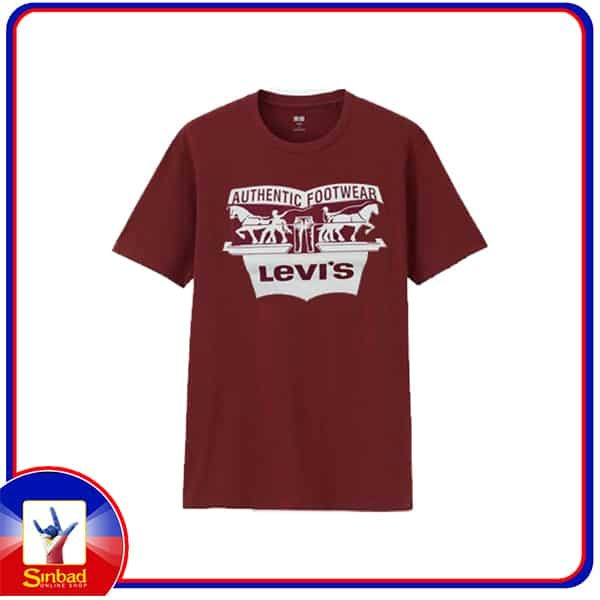 Unisex t-shirt, printed with the levis logo-red color