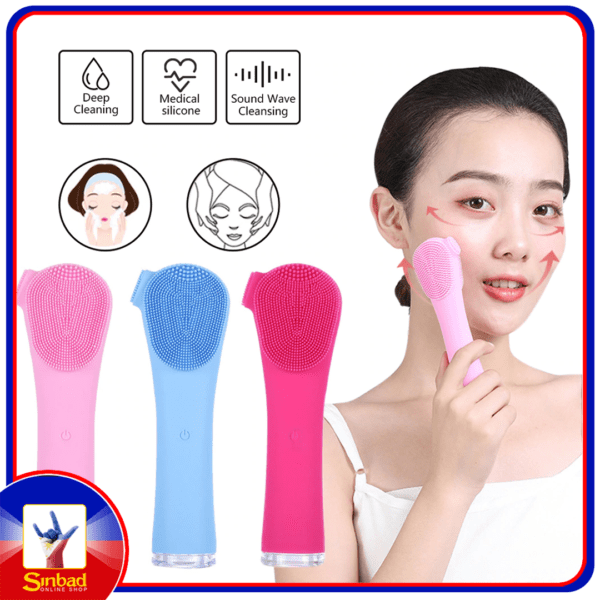 Electric Facial Cleansing Brush Waterproof Silicone Sonic Face Brush Handheld Cleaning Device Rechargeable Pore Cleaner Brush