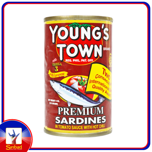 Young's town sardines in tomato sauce with hot chili 155g